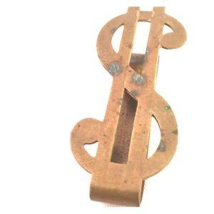 Bronzy antique dollar sign money clip.